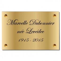 Plaque Funéraire en Laiton