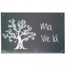 plaque émail grise olivier