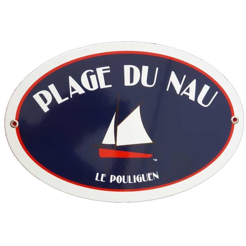 Plaque émail décor bateau