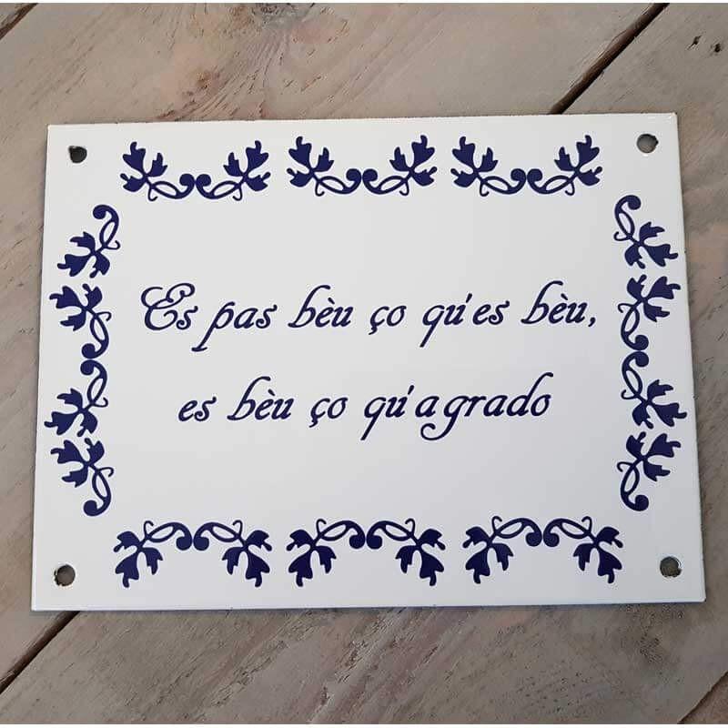 Plaque émaillée fleurs bleues