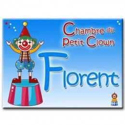 plaque de porte enfant clown